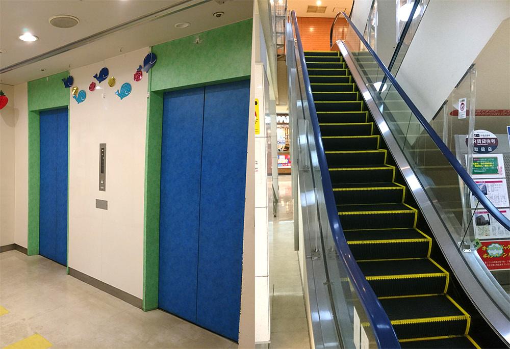 写真:トキビル内のエスカレーターまたはエレベーターで3階